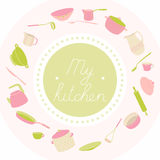Illustration with utensils arranged in a circle. With an inscription. My kitchen. Crockery polka dot pink, green set Stock Photography