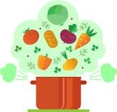 Illustration végétarienne de potage aux légumes de recette Image libre de droits