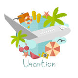 Illustration on vacation in a minimalist style Stock Photography