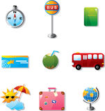 Illustration of vacation and travel icons Stock Image