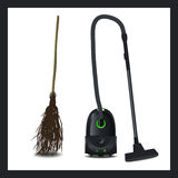 Illustration of a vacuum cleaner and broom. The evolution of technical devices Stock Images