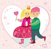 Illustration for Valentine's. Little boy and girl. To see similar kids illustrations,  please visit my gallery Stock Photography
