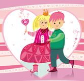 Illustration for Valentine's. Little boy and girl. To see similar kids illustrations,  please visit my gallery Royalty Free Stock Photos