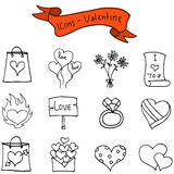 Illustration valentine day icons collection. Vector art Stock Image