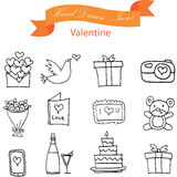 Illustration of valentine element icons. Vector art Stock Photography