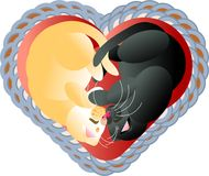 Illustration of Valentine kittens sleeping in heart. Abstract Valentine illustration of sleeping kittens Royalty Free Stock Photos