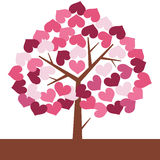 Illustration of Valentine love tree in heart shape Stock Image