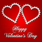 Illustration of Valentines card with gear style hearts Stock Photos
