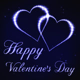 Illustration of Valentines card in style of blue star constellation Stock Image