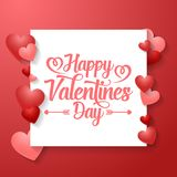 Valentine`s day background with red hearts. Illustration of Valentine`s day background with red hearts Stock Images