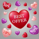 Valentine`s day big sale best offer with flying ballons stock illustration