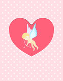 Illustration of a Valentine`s Day cupid ready to shoot his arrow in heart greeting card postcard. Illustration of a Valentine`s Day cupid ready to shoot his Vector Illustration
