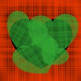Illustration of Valentine`s day a lot of green hearts of different sizes on a black heart on a background of red intertwined stock illustration