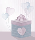 Illustration for Valentine's Day with realistic gift box and transparent balloons in form of heart. Illustration for Valentine's Day with 3D gift box and Stock Image