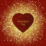 Illustration of Valentine`s Day. Red heart on red gold background. Glitter Stock Photography