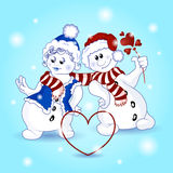 Illustration of Valentine`s Day. Two funny snowman lovers in cartoon style. Snowman in a red cap gives a flower to a heart snow girl in a blue hat and scarf Royalty Free Stock Photography