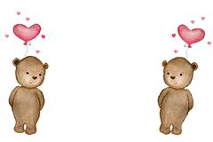 Valentines day cartoon illustration with watercolor teddy bear, cute teddy  bear with heart balloon, mothers day card with copy sp