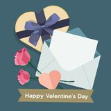 Illustration of valentines day with mail, giftbox, rose. flat vector stock image