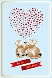 14 February Heart work with cuddling teddies in love Stock Image