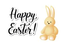Illustration with vanilla three dimensional hare and calligraphy of Happy Easter Stock Photos