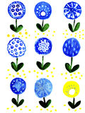Illustration variants blue and yellow colors of fabulous. On a white background Royalty Free Stock Image