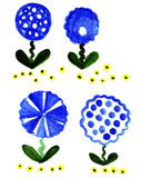 Illustration variants blue and yellow colors of fabulous. On a white background Stock Photos