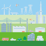 Illustration of various building and transportation Royalty Free Stock Photography