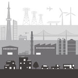 Illustration of various building and transportation Royalty Free Stock Images