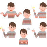 Illustration of various facial expressions of a boy. Pose collection by hand drawn style vector illustration vector illustration