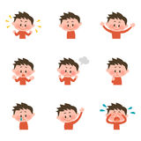 Illustration of various facial expressions of a boy. Pose collection by hand drawn style vector illustration stock illustration
