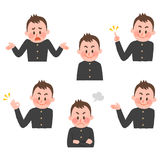 Illustration of various facial expressions of a boy. Pose collection by hand drawn style vector illustration royalty free illustration