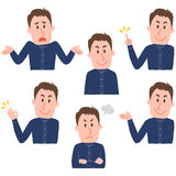 Illustration of various facial expressions of a man. Pose collection by hand drawn style vector illustration vector illustration