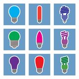 Set of colored light bulbs. Vector illustration Royalty Free Stock Photography