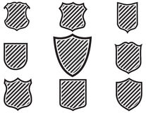 Illustration of various shield shapes Royalty Free Stock Photography