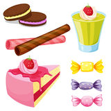 Various sweets. Illustration of various sweets on a white background Stock Photography