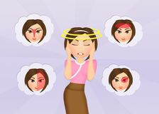 Various types of migraine. Illustration of various types of migraine royalty free illustration