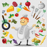Illustration of various utensils and vegetables. With chief character on a transparent Royalty Free Stock Image