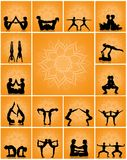 Various yoga poses. Illustration of various yoga poses couple Stock Images