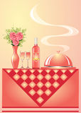 Illustration vase with flower wine with goblet Royalty Free Stock Images