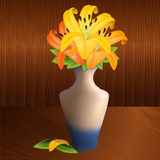 Illustration of a vase with lilies Stock Images