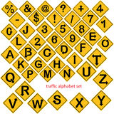 Illustration vector of alphabet and number set in yellow road si Stock Photography