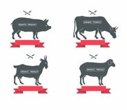 Set of labels, badges and design elements/ pork, beef, milk Royalty Free Stock Photography