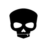 Illustration vector black and white human skull with zipper clos Stock Photos
