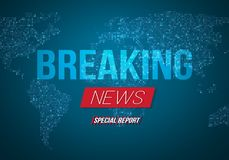 Vector Breaking News Banner. Broadcast News Design. News Report Template on Glowing Planet Background vector illustration