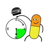 Illustration vector capsule pointing clock and hamburger above Royalty Free Stock Images