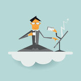Illustration vector cartoon businessman sitting on cloud with laptop. Royalty Free Stock Images