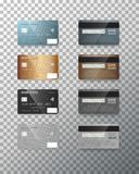 Vector Credit Card Set. Realistic Bank Cards  on Transparent Background Royalty Free Stock Images