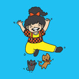 Illustration vector cute girl with cat jump Royalty Free Stock Image