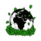 Illustration vector doodle hand drawn earth and green leaves. Ecology concept, creative design Stock Photo