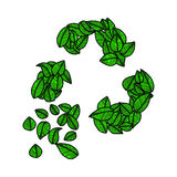 Illustration vector doodle hand drawn green leaves recycle logo, Stock Photo
